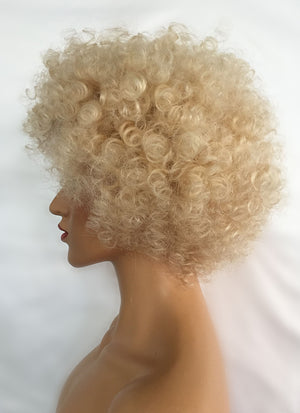 "10"" Short Curly Bleach Blonde Lace Front Remy Natural Hair Wig HP005 - wifhair"