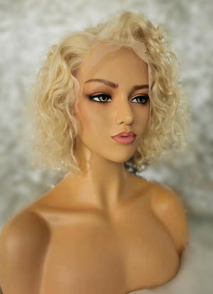 "10"" Short Curly Bleach Blonde Lace Front Remy Natural Hair Wig HP007 - wifhair"