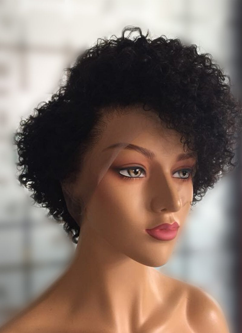 "8"" Short Curly Off Black Lace Front Remy Natural Hair Wig HP008 - wifhair"