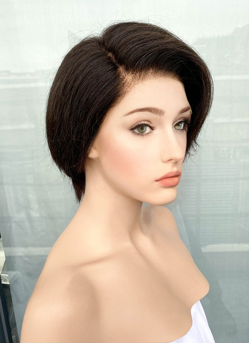 "8"" Short Straight Bob Off Black Pixie Lace Front Remy Natural Hair Wig HP010"