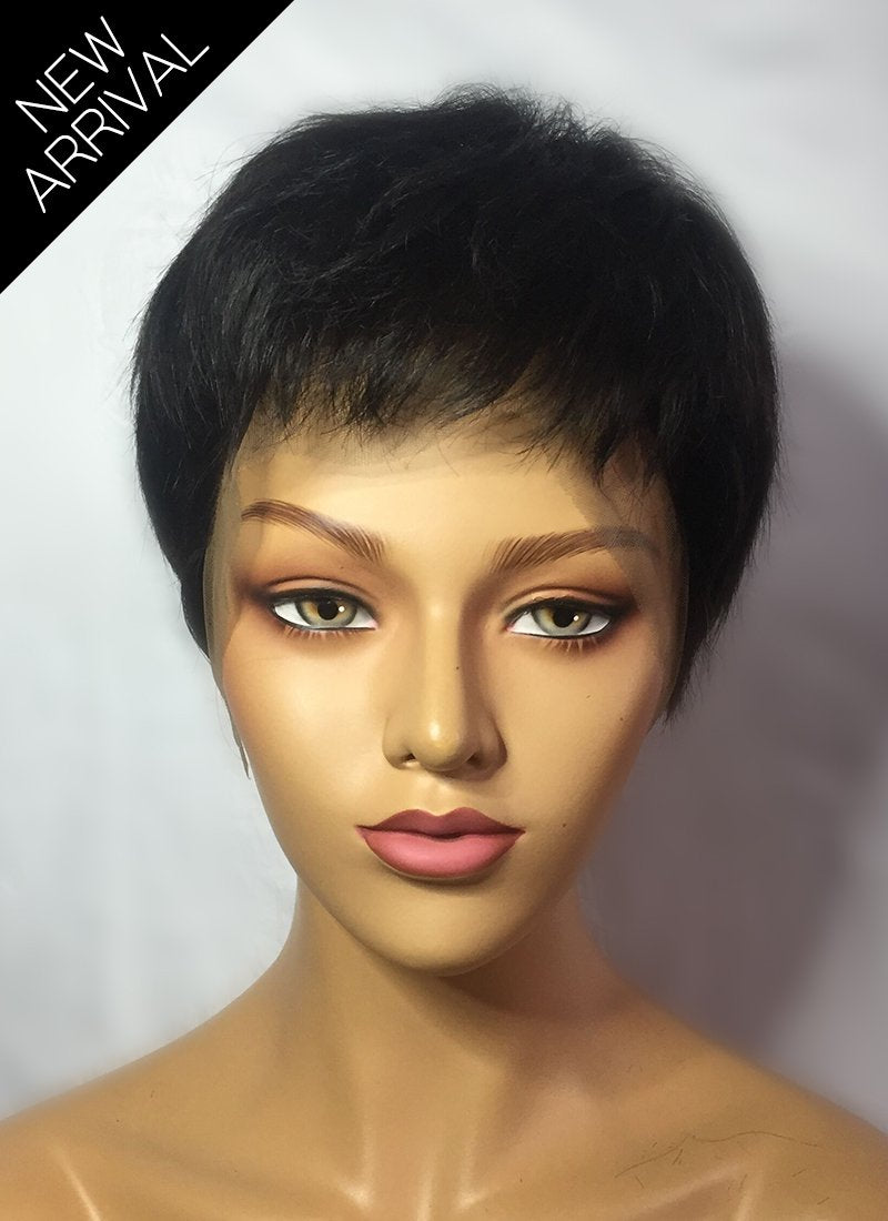 "8"" Short Layer Off Black Lace Front Remy Natural Hair Wig HP011 - wifhair"