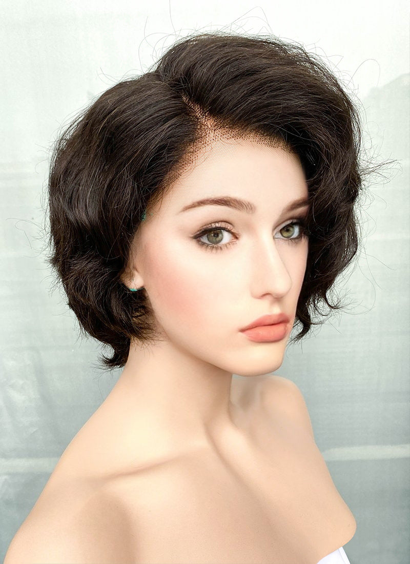 "8"" Short Curly Off Black Pixie Lace Front Remy Natural Hair Wig HP013"