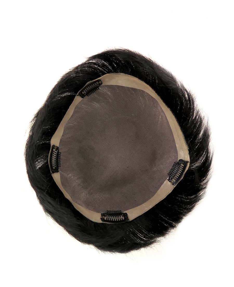 "2"" / 6"" Short Straight Natural Hair Men's Lace Base Hair Piece HT001"