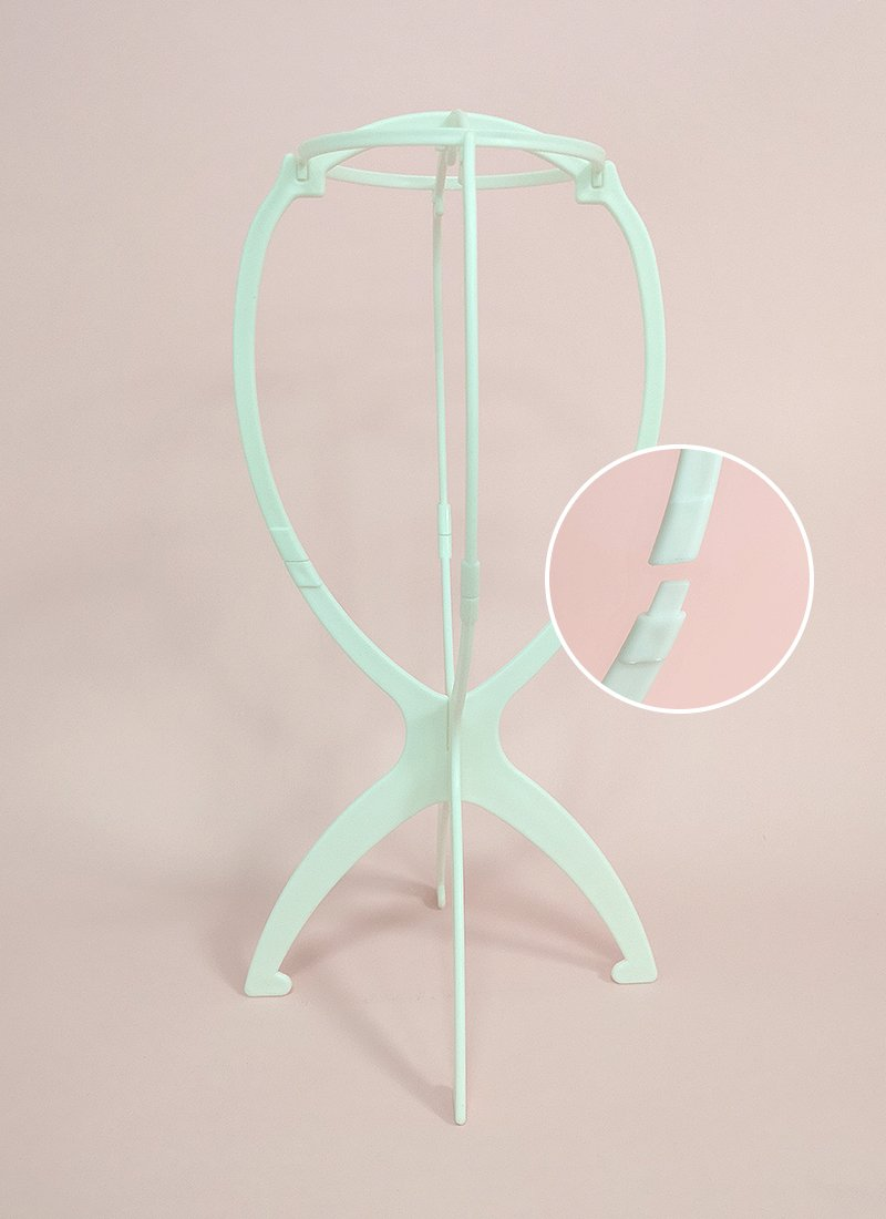 Collapsible White Plastic Wig Stand - wifhair