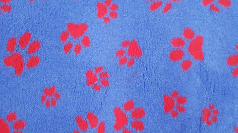 ** NO BACKING ** VET BED - BLUE WITH RED DESIGNER PAWS
