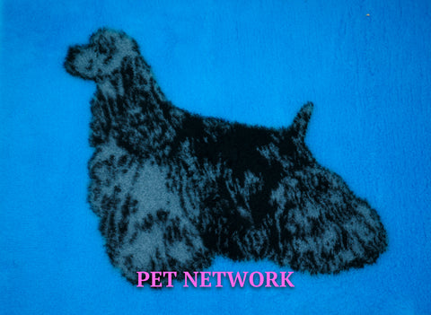 VET BED - RUBBER BACKED - AMERICAN COCKER SPANIEL DESIGN - approx. 100cm x 75cm