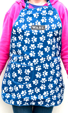 GROOMING APRON WAHL - BLUE WITH WHITE PAW PRINTS