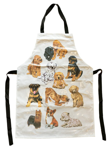 GROOMING APRON - WHITE WITH PUPPY DESIGN