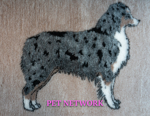 VET BED - RUBBER BACKED - AUSSIE SHEPHERD DESIGN - BROWN/CHARCOAL - 100cm x 75cm APPROX.