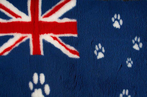 VET BED - RUBBER BACKED - AUSTRALIAN FLAG WITH PAWS - 100cm x 75cm