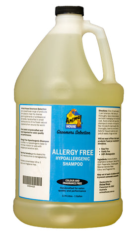 ANIMAL HOUSE GROOMERS SELECTION ALLERGY FREE HYPOALLERGENIC SHAMPOO for Dogs and Cats - 3.79 litres (1 Gallon)