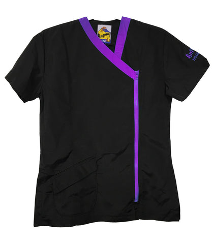 ANIMAL HOUSE GROOMING JACKET - BLACK WITH PURPLE TRIM