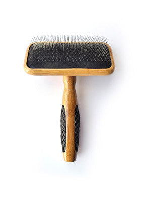 BASS SLICKER BRUSH MEDIUM (FIRM PIN) - 100% BAMBOO HANDLE (A20)