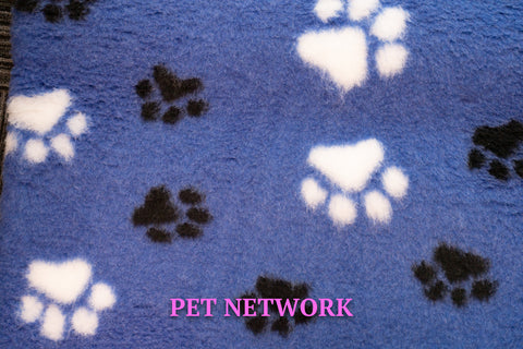 ** NO BACKING ** VET BED - BLUE WITH BLACK AND WHITE PAWS