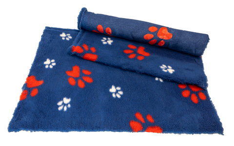 ** NO BACKING ** VET BED - BLUE WITH RED AND WHITE DESIGNER PAWS