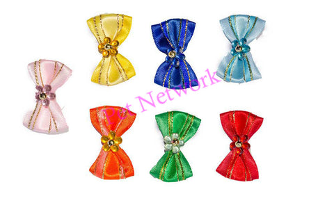 BOWS WITH THIN GOLD STRIPE AND COLOURED FLOWER CENTRE - ASSORTED COLOURS - PK/50
