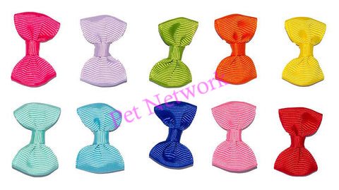 BOWS WITH PLAIN RIBBED EFFECT - ASSORTED COLOURS - PK/50