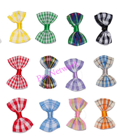BOWS WITH CHECKED DESIGN - ASSORTED COLOURS - PK/50