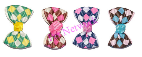 BOWS WITH DIAMOND DESIGN - 4 ASSORTED COLOURS - PK/50