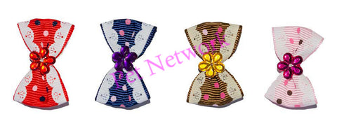 BOWS WITH FLOWER DIAMANTE CENTRE - 4 ASSORTED COLOURS - PK/50