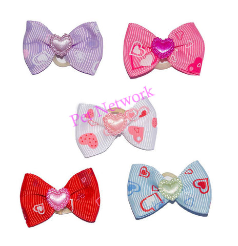 BOWS WITH HEART DESIGN - 5 ASSORTED COLOURS - PK/50