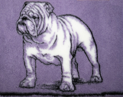 VET BED - RUBBER BACKED - BRITISH BULLDOG DESIGN (Purple) - 75cm x 100cm