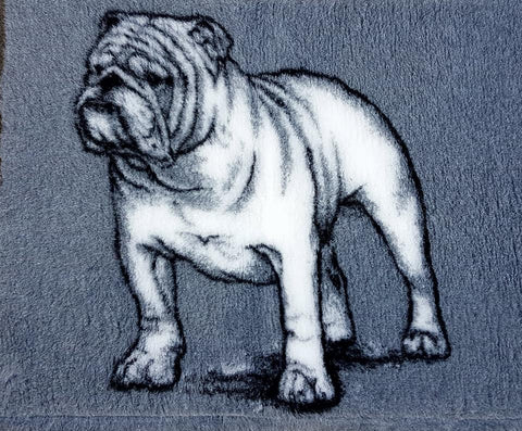 VET BED - RUBBER BACKED - BRITISH BULLDOG DESIGN (grey) - 75cm x 100cm