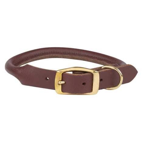 "CASUAL CANINE - ROLLED LEATHER COLLAR - 3/8"" THICKNESS (10"" -12"") - BROWN"