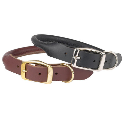 "CASUAL CANINE - ROLLED LEATHER COLLAR - 3/8"" THICKNESS (10"" -12"")  - BLACK"