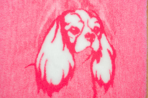 VET BED - RUBBER BACKED - CAVALIER KING CHARLES SPANIEL DESIGN PINK/WHITE - 100cm x 75cm approx.