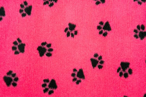 VET BED - GREEN BACKED - CERISE WITH BLACK PAWS