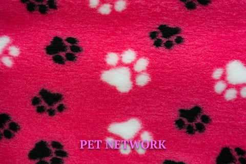 VET BED - GREEN BACKED - CERISE WITH BLACK AND WHITE PAWS