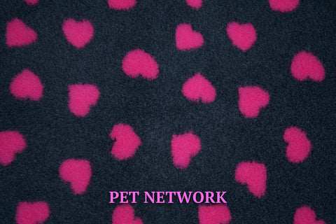 VET BED - GREEN BACKED - CHARCOAL WITH CERISE HEARTS