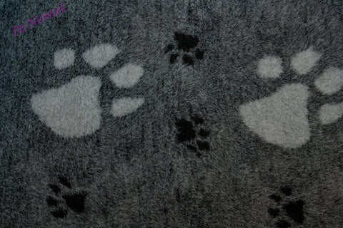 ** NO BACKING ** VET BED - CHARCOAL WITH LARGE GREY PAWS