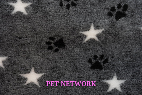 ** NO BACKING ** VET BED - CHARCOAL WITH WHITE STARS AND BLACK PAWS