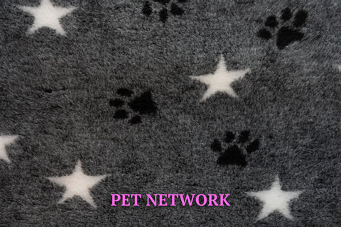 VET BED - RUBBER BACKED - CHARCOAL WITH WHITE STARS AND BLACK PAWS