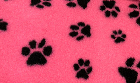 ** NO BACKING ** VET BED - CERISE WITH BLACK DESIGNER PAWS