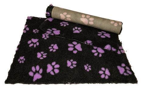 VET BED - RUBBER BACKED - CHARCOAL WITH PURPLE DESIGNER PAWS