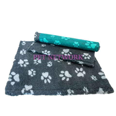 VET BED - GREEN BACKED - CHARCOAL WITH GREY DESIGNER PAWS