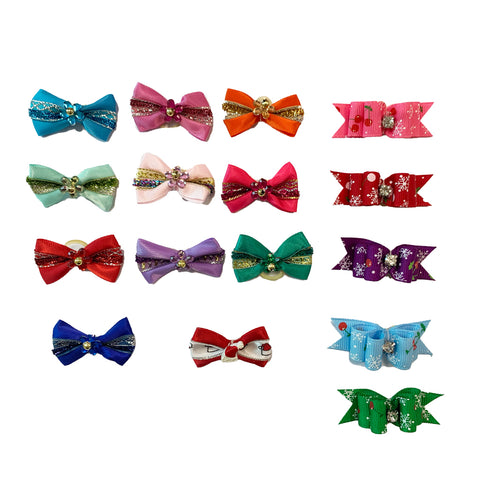 ASSORTED GROOMERS CHRISTMAS BOWS (PACK OF 40)