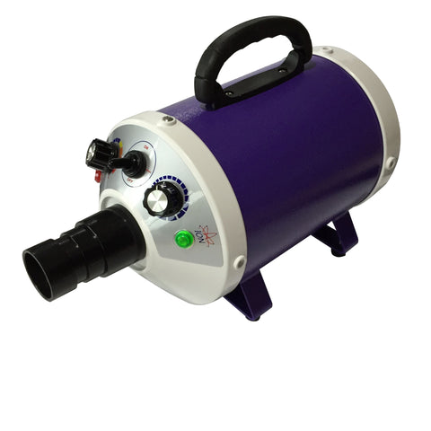 ANIMAL HOUSE SINGLE MOTOR PET DRYER - HEAT WITH VARIABLE WIND SPEED - AVAILABLE IN DARK GREY OR PURPLE- 2000W max power