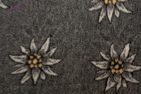 ** NO BACKING ** VET BED - EDELWEISS FLOWER DESIGN (CHARCOAL)