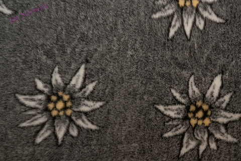 VET BED - RUBBER BACKED - EDELWEISS FLOWER DESIGN (CHARCOAL)