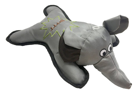 NYLON GREY ELEPHANT DOG TOY WITH SQUEAKER