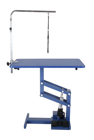 ANIMAL HOUSE ELECTRIC Z-LIFT GROOMING TABLE (BLUE TOP / WHITE LIFT FRAME)