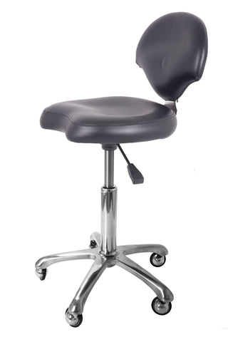 GROOMER'S STOOL WITH BACK REST AND CASTER WHEELS