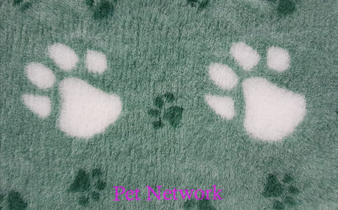 VET BED - GREEN BACKED - GREEN WITH LARGE CREAM PAWS