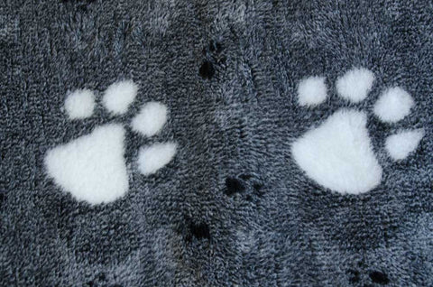 VET BED - GREEN BACKED - CHARCOAL/BLACK WITH LARGE WHITE PAWS/SMALL BLACK PAWS