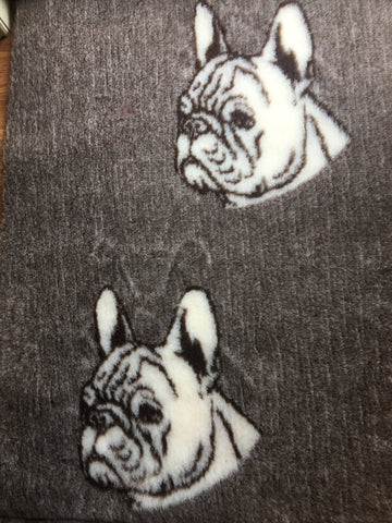 VET BED - RUBBER BACKED - FRENCH BULLDOG DESIGN CHOCOLATE- 100cm x 75cm