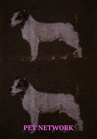VET BED - RUBBER BACKED - JACK RUSSELL TERRIER DESIGN - approx. 100cm x 75cm